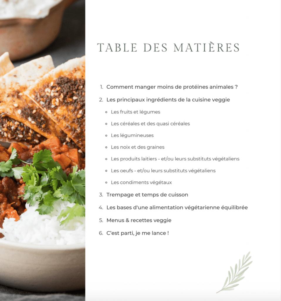 """Table des matières Ebook """"Je végétalise mon alimentation"""""""